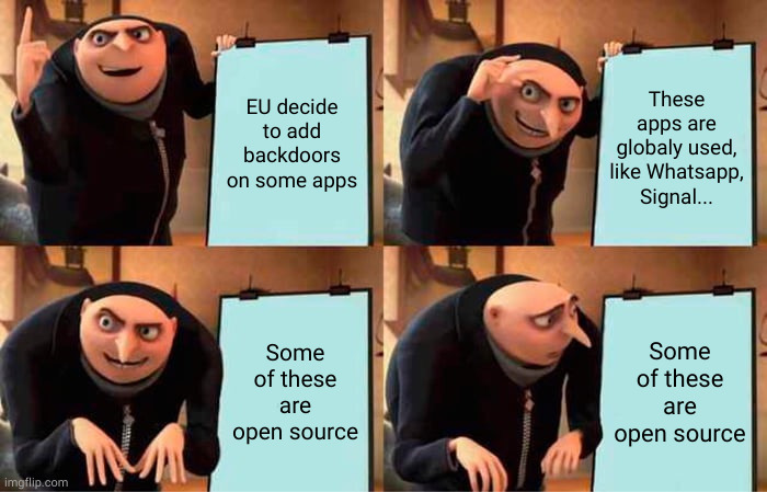 Opensource apps with backdoor. Gru is disillusioned